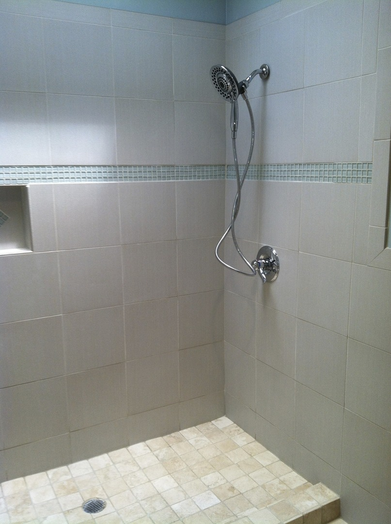 Tile gallery floors by george floor to ceiling tile shower with accent tiles 1 of 2 dailygadgetfo Gallery